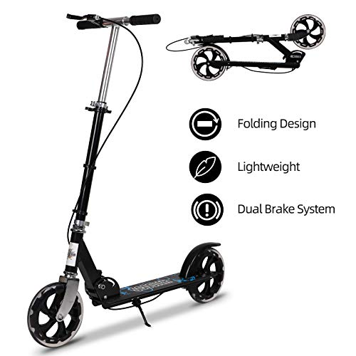 Adult Scooter with Handbrake, Lightweight Easy Folding Kick Scooter Street Push Scooter with Dual Brake Adjustable Handlebar, 200mm Wheels for Adults Teens Ages 12+