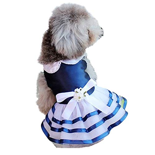Smniao Haustier Hund Kleidung Kleine Hund Braut Hochzeit Rock Spitze Kleid Kostüme für Party Welpen Katze Bekleidung Weste Hemd T-Shirt(L, Dunkelblau)