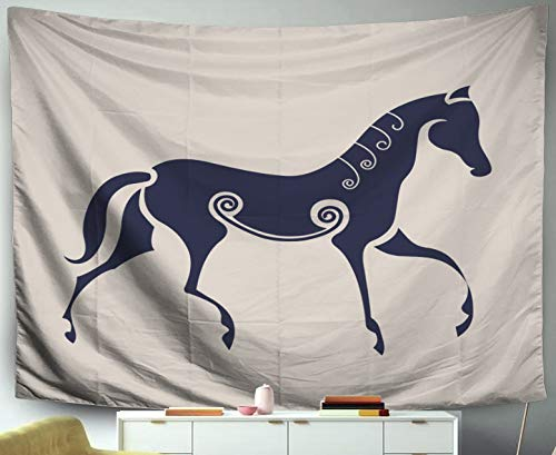 Space Tapestry,Jacrane Art Tapestries with 60X50 Inches Ancient Celtic Symbol Horse for Dorm Bedroom Living Home Decor,Gray Orange