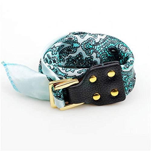 Pulsera de cuero, pulseras trenzadas de cuero auténtico, bufandas de seda verde, hebilla de impresión de flores, pulseras de abalorios de personalidad para hombres, niños y mujeres