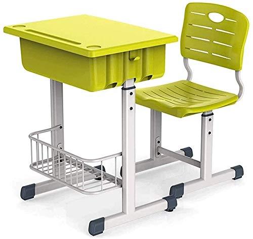 LKNJLL Escritorio Funcional para niños y Silla de Silla, Escritorio de Estudios de escuelas Escolares Ajustables en Altura con Silla, para niños, (Color : Green)