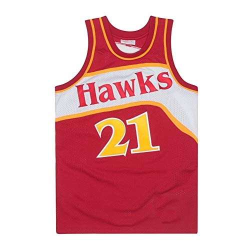 Basketball Trikot Atlanta Hawks-21# Dominique Wilkins Street Retro T-Shirt Sommer Stickerei Tops Junge Swingman Basketball Kostüm Geburtstagsgeschenk (S-3XL)-red-S(165.170cm)