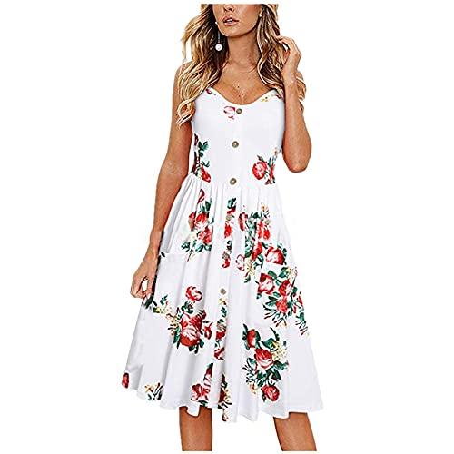 FOTBIMK Vestido con cordones para mujer, con cuello en V, estampado floral, con botones, cintura alta, vestido de tirantes acampanado, A-blanco, Small