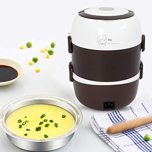 Food-GradePortable Electric Lunch Box Rice Cooker Steamer Multi Layer 110V with Stainless Steel Inner Pot (2L)