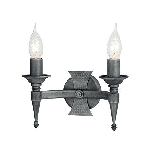 Applique Saxon noir/argent 2 ampoules