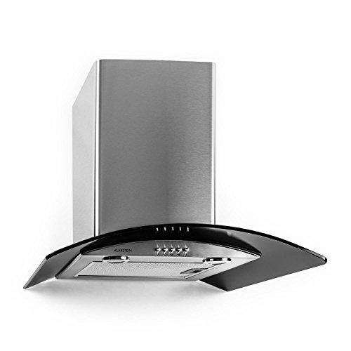 Klarstein GL60WSB • Cappa aspirante • Aria scarico / ricircolata • 3 passi • Max. 370 m³ / h • Acciaio inossidabile • Montaggio a parete • Illuminazione • 60 cm • Filtro in alluminio • argento / nero