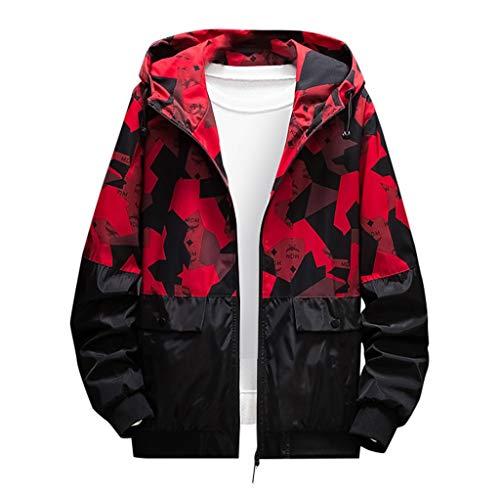MAYOGO Softshell Jacke Herren Regenjacke Casual Camouflage Jacke Sweatjacke Dünne Übergangsjacke Zip Kapuzenjacke Outdoor Jacke (rot, M/EU:34)