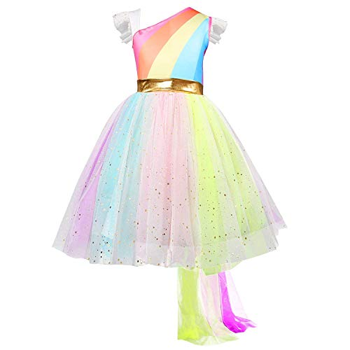 Vestido sin Mangas del Arco Iris de Little Girls Ceremonia de Fiesta Carnaval Unicornio Disfraz de fantasía Tamaño (120) 4-5 años Rainbow