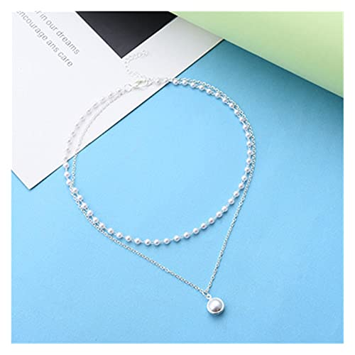 LPZW Choker Womans Necklaces Artificial Pearl Jewelry Round Necklace Ladies Bead Pendant Chain Gold Color Trendy Alloy 2021 (Metal Color : Silver color)