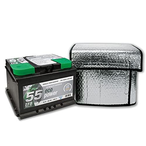 Cartrend 96157 Tapa termo de batería, tamaño aprox. 118 x 75 cm ideal para 50 - 72 Ah , mantiene las baterías de arranque funcionales aún a temperaturas muy bajas
