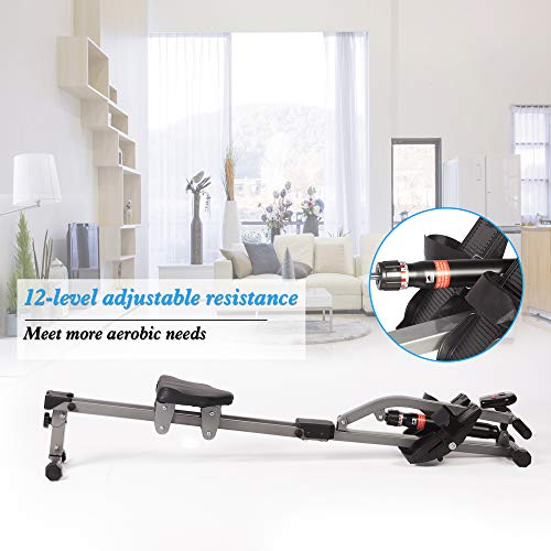 Livebest Hydraulic Rowing Machine Full Body Stamina Exercise Power with 12 Levels Adjustable Resistance,Home Gyms Training Equipment Fitness Indoor