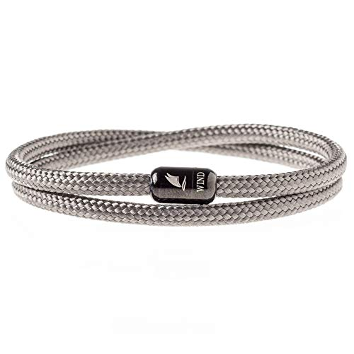 Wind Passion Durable Rope Cord Cuff Grey Bracelet with Magnetic Clasp for Men Women, Large Size