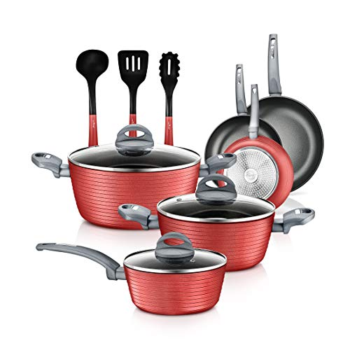12-Piece Nonstick Kitchen Cookware Set - Professional Hard Anodized Home Kitchen Ware Pots and Pan Set, Includes Saucepan, Frying Pans, Cooking Pots, Dutch Oven Pot, Lids, Utensil -NutriChef NCCW12RED