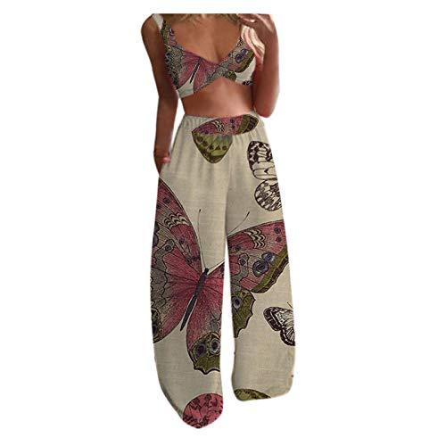 Top + Pantaloni Lunghi Set da 2 Pezzi Camis Senza Maniche con Stampa a Farfalla Casual da Donna ( XL,3cachi )