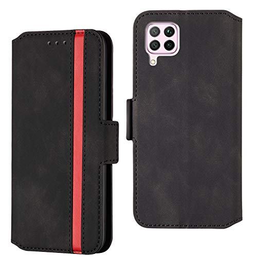 ARRYNN Handyhülle für Huawei P40 Lite Hülle,Lederhülle Huawei P40 Lite Flip Cover,Premium Schutzhülle Magnet Ledertasche für Huawei P40 Lite (R-Schwarz)