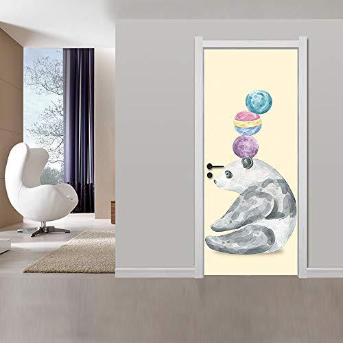 Deurstickers voor binnendeuren 3D Animal Panda Ballon zelfklevende kunst deur behang muurschilderingen waterdicht Vinyl verwijderbare Poster Slaapkamers Woonkamer Toilet Keuken Home deur Art Creatieve Decoratio 77x200cm