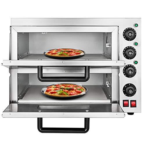 Moracle Horno de Pizza Eléctrico de 3KW Horno para Pizza con Cajón de Pizza Acero Inoxidable 350 ℃ Mini Horno de Sobremesa Eléctrica 220V