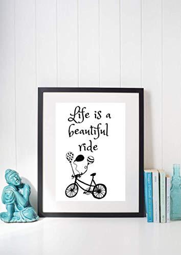 Kunstdruck Din A4 ungerahmt - Life is a beautiful ride - Spruch - Fahrrad - Rad fahren, Ballons, Radeln, Lebensfreude, Leben Motivation, Druck, Poster, Bild