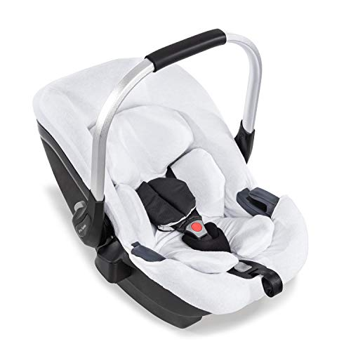 Hauck Sommerbezug für die Babyschale iPro Baby, 2-Teiliger Frotteebezug, weich, atmungsaktiv, Leicht zu reinigen, Weiß 618646
