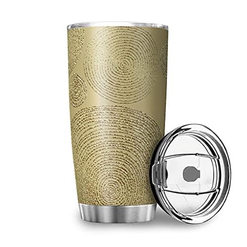 Patrón étnico doble pared viaje agua taza con tapa acero inoxidable vaso elegante para oficina blanco 600ml