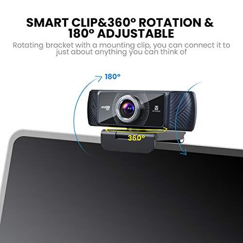 Webcam 1080p 60fps Full HD mit Stereo-Mikrofon, Vitade 682H PC Computer USB Web-Kamera für Videochat und Aufnahme, kompatibel mit Windows, Mac und Android