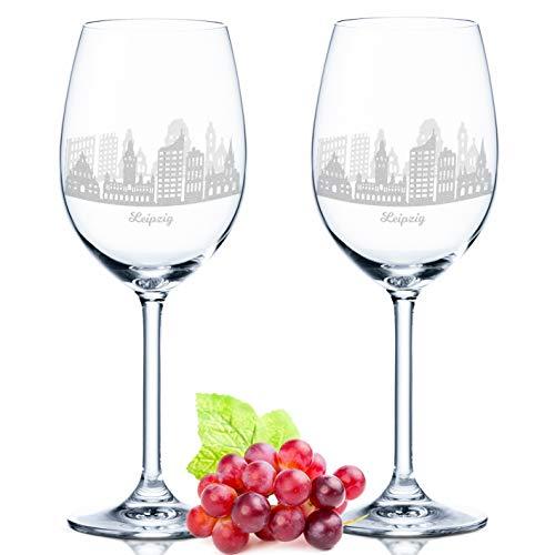 Leonardo Weinglas mit Gravur - Leipzig Geschenk im 2er Set - Weingeschenk - Souvenir Andenken & Mitbringsel - Geburtstagsgeschenk für Sie & Ihn