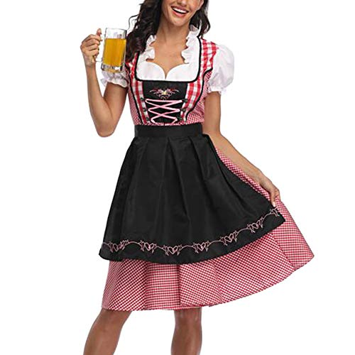 JiuRong Vestido Sexy de Mujer Oktoberfest Dirndl Disfraz de sirvienta de Cerveza bávara