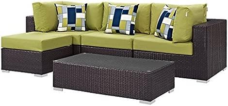 Modway Convene Wicker Rattan 5-Piece Outdoor Patio Sectional Sofa Furniture Set in Espresso Peridot