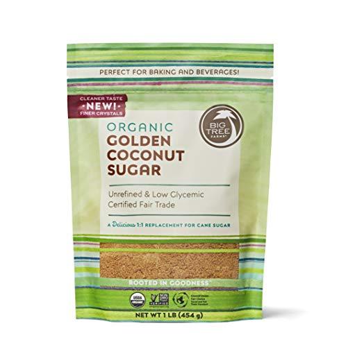 Big Tree Farms Organic Coconut Sugar, Vegan, Gluten Free, Paleo, Certified Kosher, Cane Sugar Alternative, Substitute for Baking, Non GMO, Low Glycemic, Unrefined, Fair Trade, Golden, 1 lb
