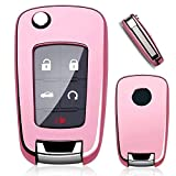 Royalfox(TM) Full Cover 2 3 4 5 Buttons TPU flip Remote Key Fob case Cover for Chevrolet Camaro Cruze Equinox Malibu SS Sonic Spark Volt Aveo Epica,Buick Lacrosse Encore GL8 Regal Excelle (Pink)