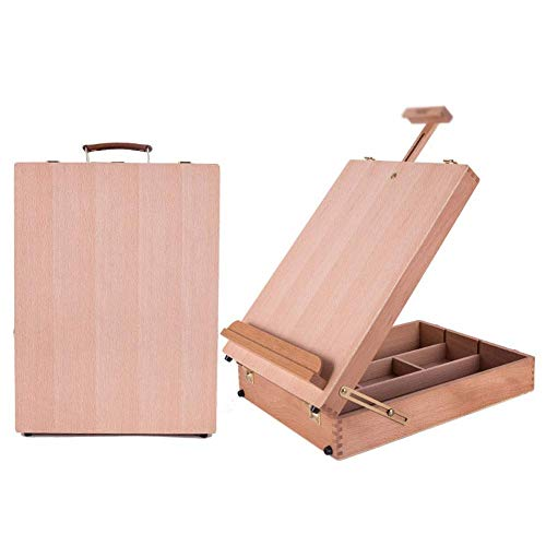 Luckyw Wooden Box Art Drawing Painting Table Box Oil Paint Suitcase Multifunctional Easel with Integrated