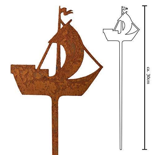 Galionsfigur Kogge | Designer Blumenstecker Edelrost - 30cm hoch, maritime Deko, Nordsee, Ostsee, Hansebund Souvenir, Made in Germany