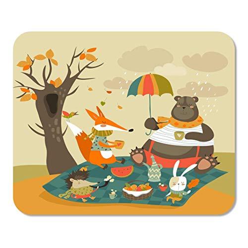 Suike Mousepad Computer Notepad Büro fallen Tiere beim Picknick im herbstlichen Wald Herbstkaffee Home School Game Player Computer Arbeiter