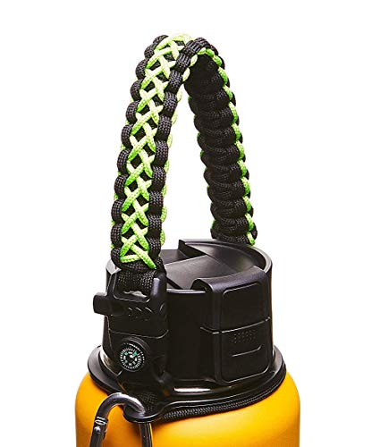 WaterFit Paracord Carrier Strap Cord with Safety Ring and Carabiner for 12-Ounce to 64-Ounce Wide Mouth Water Bottles, Green/Compass