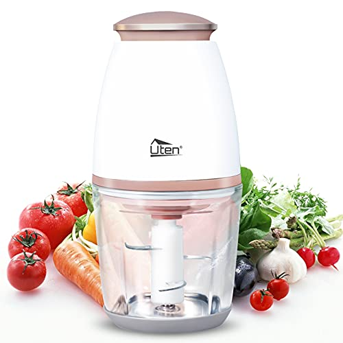 Uten Mini Zerkleinerer, 700mL Elektrisch Küche Mixbehälter/Zwiebelschneider/Spritzfest Fleischwolf mit 4-flügeliges Edelstahlmesser für Fleisch, Smoothie,Zwiebeln, Obst, Gemüs