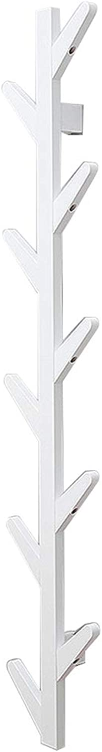 Coat Rack, Wall-Mounted Creative Solid Wood Simple Hanger Bedroom Living Room Storage Rack,2 color, 3 Size (color   White, Size   24  98CM)