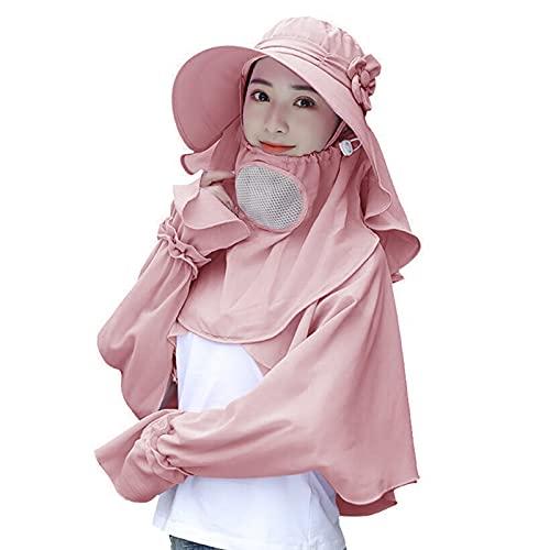 Cappello da sole da giardinaggio per donne e ragazze, a tesa larga, protezione dai raggi UV, con scialle e scudo facciale