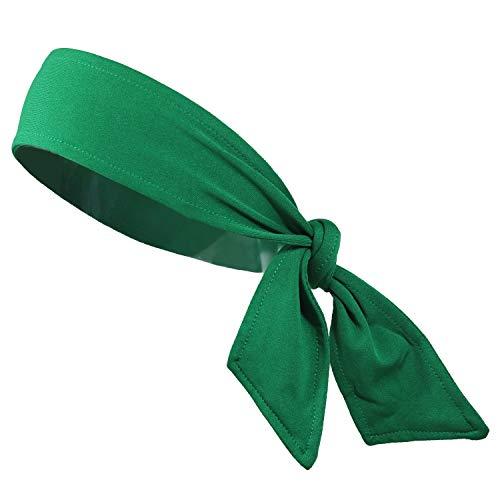 Headbands Tie on Headband for Women Men Running Athletic Hair Head Band Elastic Sports Sweat Basketball Sweatband Stetchy Yoga Workout Sweatbands Adjustable Non-Slip Moisture Wicking (green)