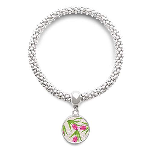 DIYthinker Damen Blätter Blume Nelke Pflanze Blume Sliver Armband Laufende hängende Schmuckkette