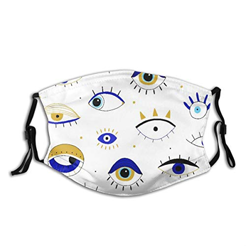 TARTINY Face Cover Evil Eyes Balaclava Unisex Reusable Windproof Anti-Dust Mouth Bandanas Outdoor Camping Motorcycle Running Neck Gaiter with 2 Filters for Teen Men Women