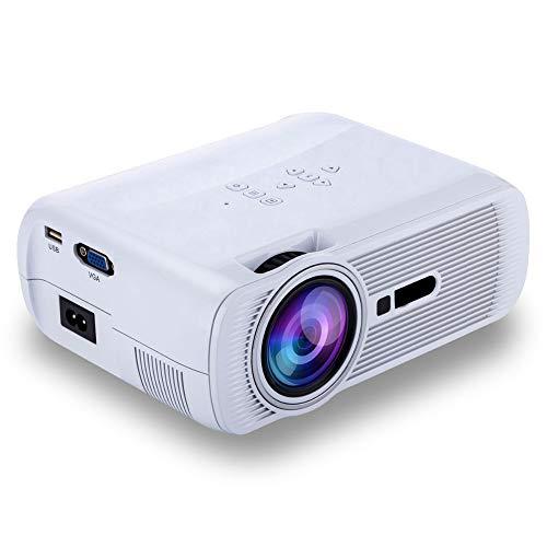 BJGUG Proyector, 1000 LúMenes Proyector De Video HD Home Cinema LCD Proyector De PelíCulas Soporte 1080P Hdmi Vga AV USB Ideal para Entretenimiento En El Hogar Juegos De Fiesta,White