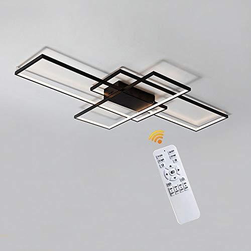 LED Dimmable Plafonnier Salon Lampe Avec Télécommande, Couleur De La Lumière/luminosité Réglable, Moderne Creative Métal Acrylique Rectangle Design Plafond Lampe Éclairage Décor Lampe,Noir,90cm(80W)