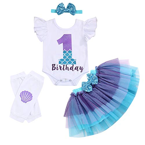 Baby Girls 1st Birthday Mermaid Outfit Romper Headband Leggings Tutu Dress Sequin Bowknot Princess Skirt Sets (6-12 Months, White # Birthday)