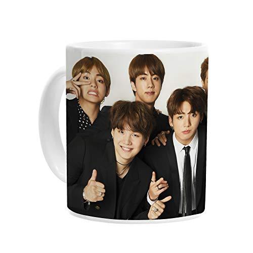 BTS Korean Boy Band K-Pop - Taza de café (cerámica, 300 ml), Color Blanco Brillante
