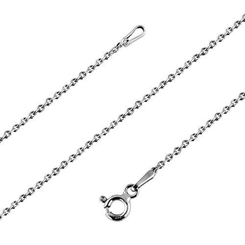 Avesano feine Damen Halskette Ankerkette 1 mm breit in 925 Sterling Silber, Kettchen Schmuck Collier Kette, Silberkette ohne Anhänger, Länge 40cm-70cm, 101031-040