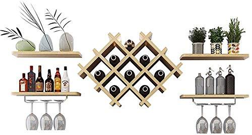 Pared de la cocina de rack de almacenamiento en rack organización de vino de madera retro de malla colgar el estante de cristal bandeja de rejilla magnum |,Wood color