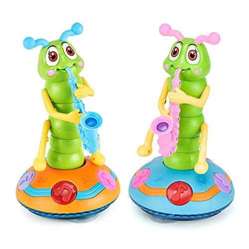 Children's Electric Dance Toy, Rocking Twister Colorful Light Music Universal Caterpillar Saxophone Toys
