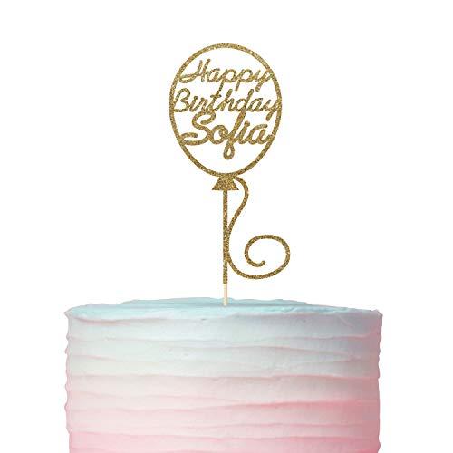 Gepersonaliseerde ballon ontwerp verjaardag naam taart topper/schattig verjaardag taart topper met naam