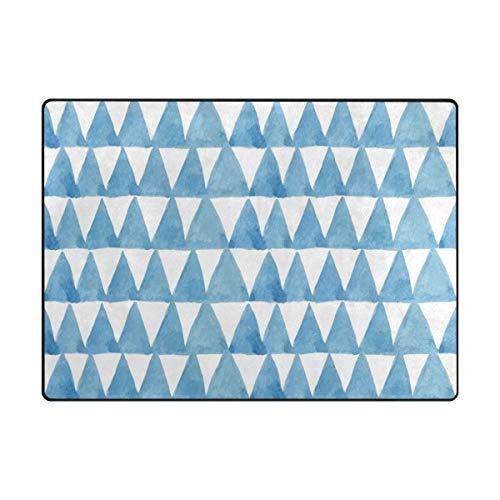 MALPLENA Azure Triangle Zone Tapis antidérapant Pad Moyen d'entrée Paillasson Tapis de Sol Chaussures Grattoir, Polyester, 1, 63 x 48 inch