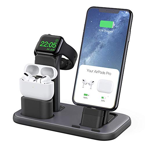 Beacoo 3-in-1 Ladestation für Airpods Pro iWatch Serie 5/4/3/2/1, Ladestation Dock, kompatibel mit Airpods 1/2, iPhone 11/11pro/max/XS/X Max/XR/X/8Plus/7/6S/9,7 Zoll iPad grau - space gray